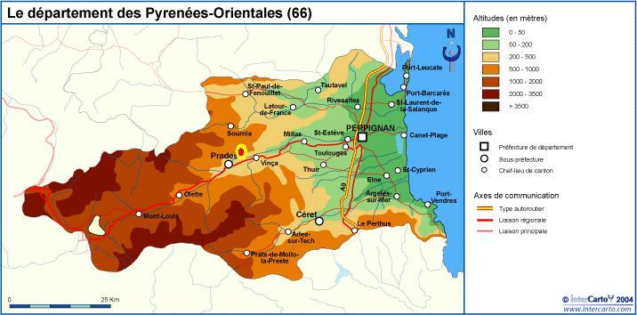carte relief des Pyrenes Orientales