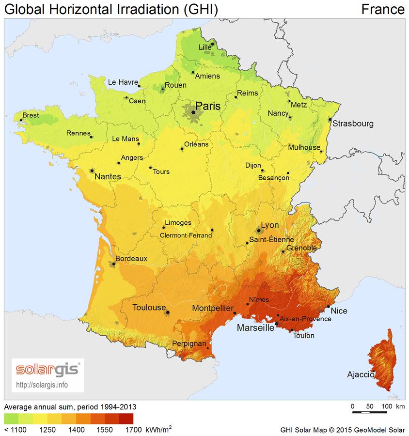 Ensoleillement en France moyen