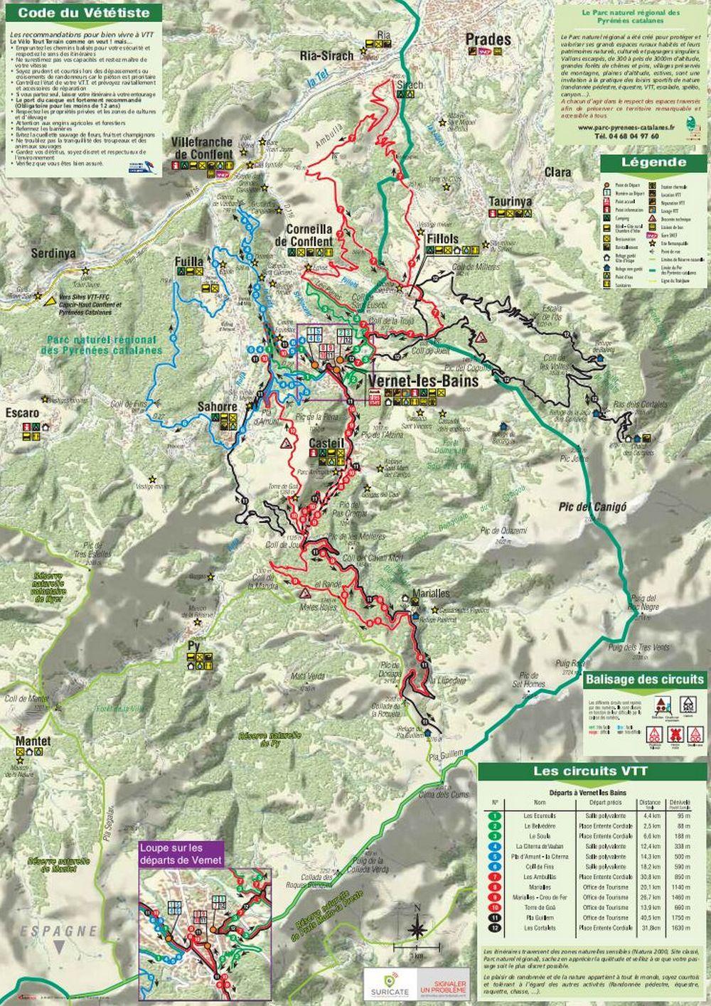 Carte Pistes VTT autour du Canigou Secteur Vernet les Bains - Source OT Conflent Canigo