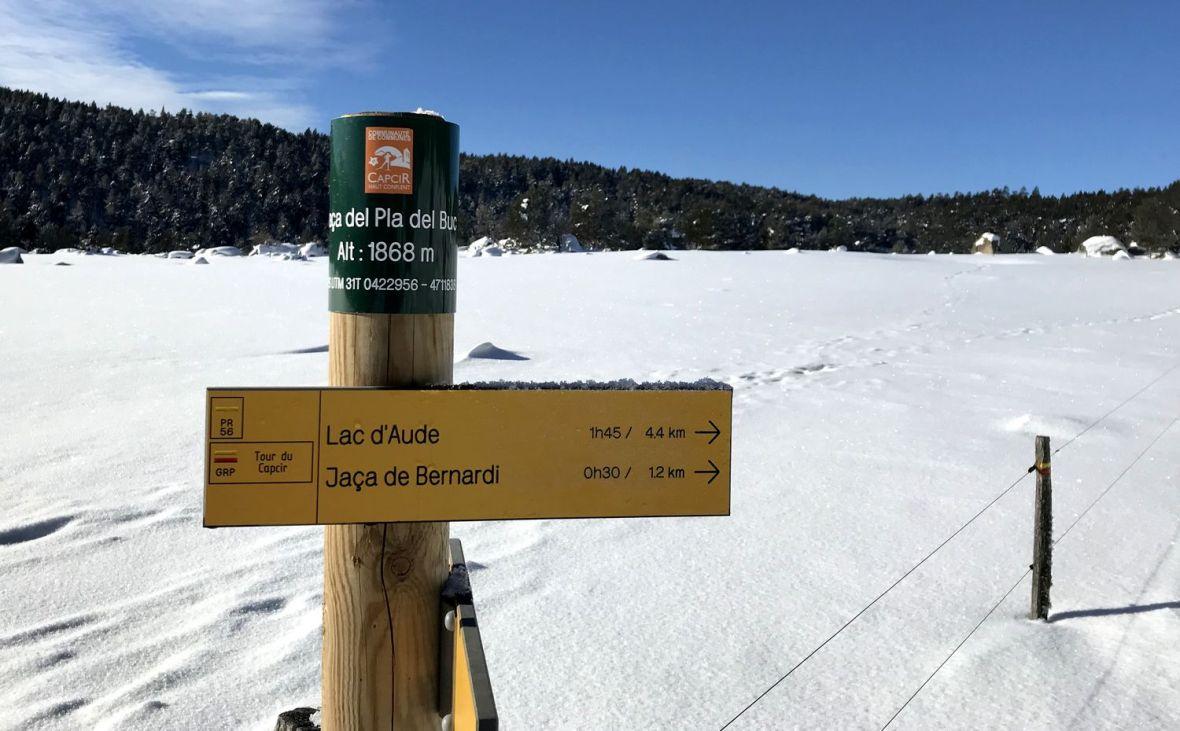 Boucle rando raquette Lac d'Aude depuis les Angles hivernale