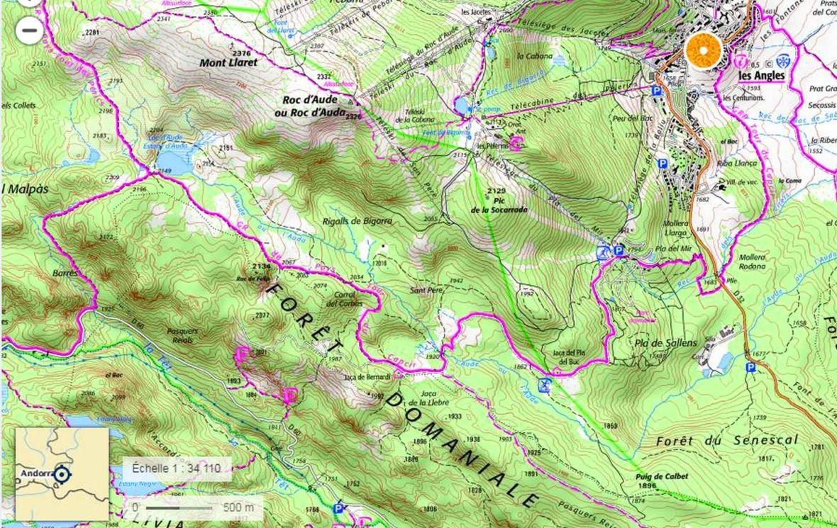 Topo carte randonnée Lac d'Aude