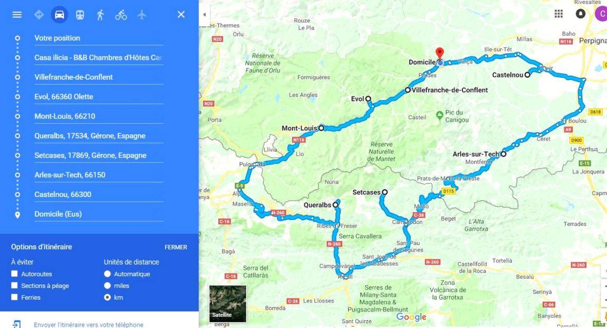 plan map circuite villages pyrénées