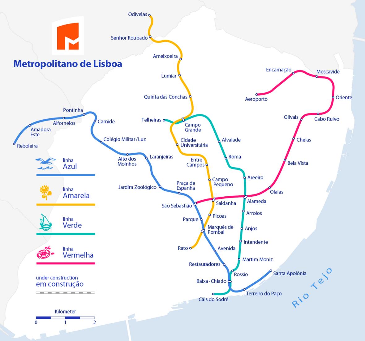 Plan de métro de la ville de Lisbonne