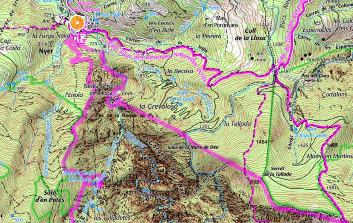 Carte de la balade aux gorges de Nyer topo guide
