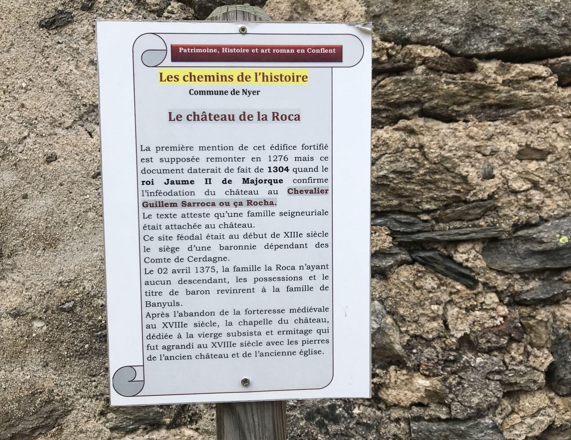 histoire du chateau de la Roca - Nyer