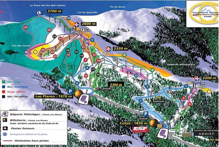plan pistes ski alpin puigmal rossignol 4 saisons cerdanya